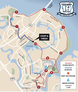 Running course for the Foster City 10-miler. Shows some of the good running routes.