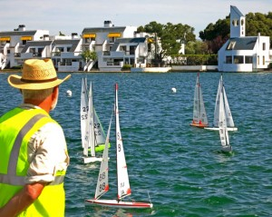 International One Meter (IOM) model sailboat racing. Foster City Lagoon.