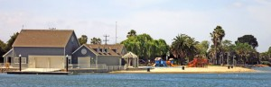 Parkside Aquatic Park, San Mateo. 1/4 mile long beach, children's playground, power boat launch